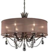 Schonbek Vesca 6 - Light Shaded Drum Chandelier Finish: Antique Silver, Crystal: Clear Crystal, Shade Color: Bronze