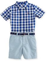 Ralph Lauren Gingham Poplin Shirt w/ Belted Shorts, Blue, Size 9-24 Months