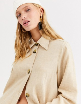 Monki soft flannel oversized shirt in beige