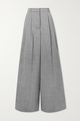 Joseph Benton Pleated Melange Wool-blend Wide-leg Pants - Gray