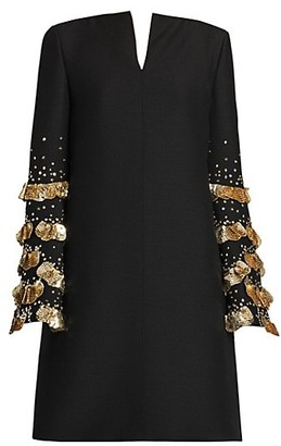 Valentino Crepe Couture Sequin Embroidered Shift Dress