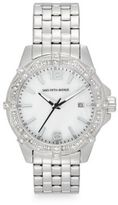 Saks Fifth Avenue Stainless Steel & Deco Crystal Bezel Watch/Silver