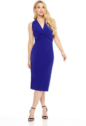 Maggy London Women's Petite Solid Knot Front midi Sheath
