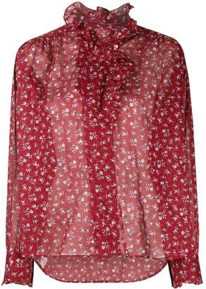Etoile Isabel Marant Floral Print Ruffle Neck Blouse