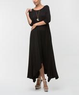 Black Three-Quarter Sleeve Side-Tail Maxi Dress - Plus