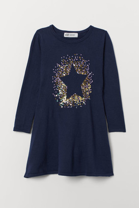 H&M Dress with Sequined Motif - Blue