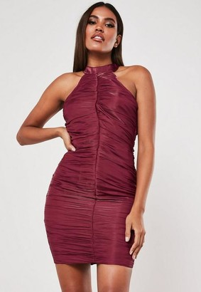 Missguided Red Ruched Halterneck Bodycon Mini Dress