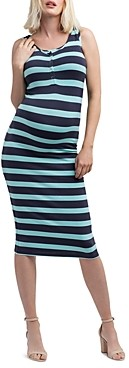 Nom Maternity Striped Snap-Front Midi Tank Dress