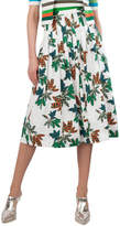 Akris Punto Tropical-Leaves Pleated Printed Midi Skirt