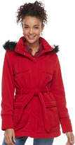 Urban Republic Juniors' Faux-Fur Hood Fleece Coat