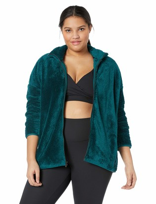 Amazon Brand - Core 10 Plus Size Women's Cozy Teddy Bear Fleece Yoga Jacket