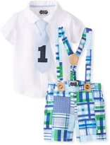 Mud Pie Baby-Boys Infant I'M One 3 Piece Set Madras Plaid Shorts Button Down and Tie Set