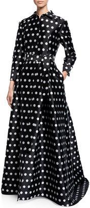 Carolina Herrera Polka-Dot Silk Button-Front Gown