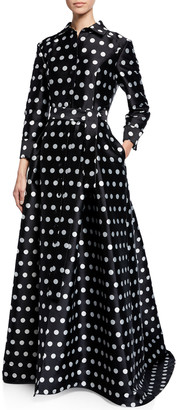 Carolina Herrera Polka-Dot Silk Button-Front Gown