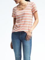 Banana Republic Short-Sleeve Stripe Scoop Tee