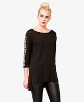 Forever 21 High-Low Studded Sleeve Top
