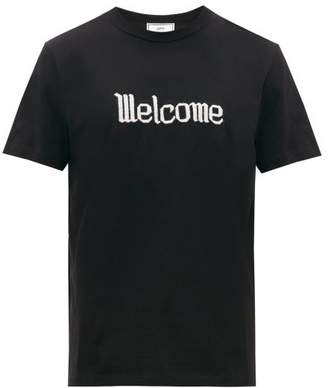 Ami Embroidered Cotton-jersey T-shirt - Mens - Black