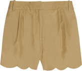 Scalloped cotton and silk-blend shorts