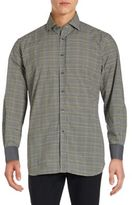 Corneliani Long Sleeve Checkered Cotton Shirt
