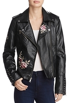 GUESS Harper Embroidered Faux-Leather Jacket