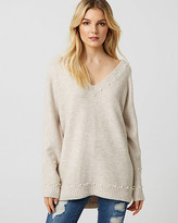 Le Château Pearl Embellished Boucle V-Neck Sweater