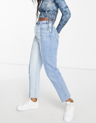 Stradivarius straight leg contrast two-tone jeans with raw hem in blue