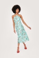 Thumbnail for your product : Nasty Gal Womens Halter Neck Abstract Print Midi Slip Dress - Green - 8