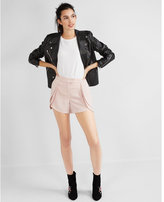 Express Mid Rise Fly Front Ruffle Shorts
