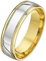 Theia His & Hers 14ct Yellow and White Gold Two-Tone 6mm Millgrain Wedding Ring - Size W