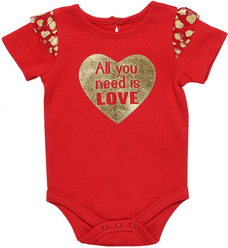 Baby Starters Girls' Infant Bodysuits Red - Red Ruffle-Accent 'All You Need Is Love' Bodysuit - Infant