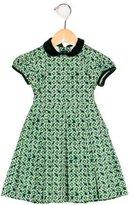 Oscar de la Renta Girls' Velvet-Trimmed Floral Print Dress