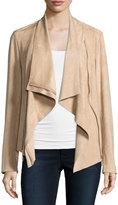 Neiman Marcus Faux-Suede Double-Zip Jacket, Beige