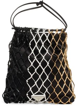 Prada Rete Colorblock Macrame & Satin Drawstring Bag