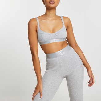 River Island Womens Intimates Grey ribbed cupped bralet top