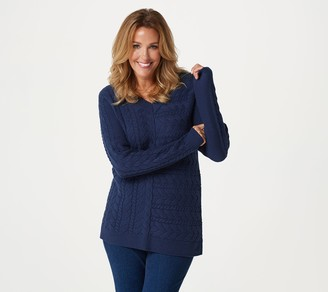 Denim & Co. Regular V-Neck Long Sleeve Cable Tunic