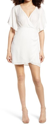 Socialite Flutter Sleeve Surplice Minidress
