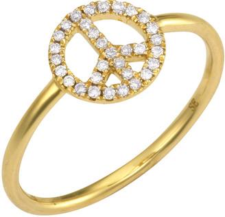 Sydney Evan Pave Diamond Peace Sign Ring