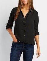 Charlotte Russe Zipper Back Button Down High-Low Shirt