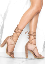 Missy Empire Lia Mocha Suede Tie Up Heels