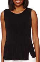 Liz Claiborne Sleeveless Knit Print Peplum Shirt - Tall