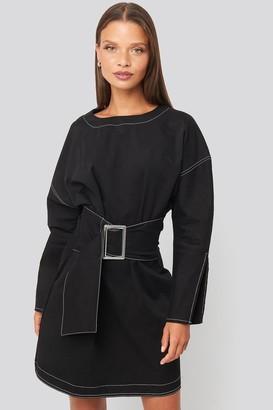 Trendyol Mini Front Belted Dress Black