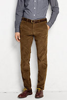 Classic Men's Plain Front Slim Fit 18-wale Corduroy Trousers-Mahogany Brown