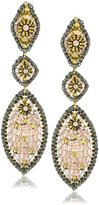 Miguel Ases Swarovski and Rose Gold Bead Multi Marquis Drop Earrings