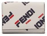 Fendi Mania Logo-print Tri-fold Leather Wallet - Womens - White Multi