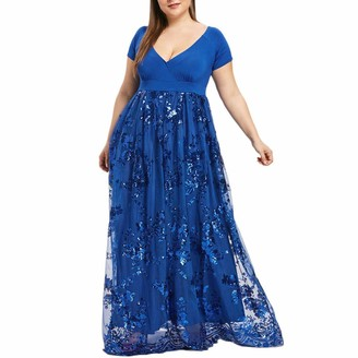 KaloyWee Plus Size Lace Dress Maxi Dresses Women Casual Midi Deep V Cross Short Sleeve Fashion Floral Long Fancy Sequins Glitter for Party Cocktail Evening Prom Red