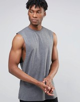 Asos Longline Sleeveless T-shirt With Dropped Armhole In Charcoal