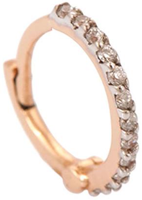 Kismet by Milka 14k Rose Gold Tiny Hoop Earring in White Diamond (Single)