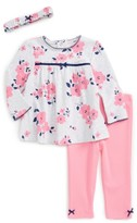 Little Me Infant Girl's Flower Tunic, Leggings & Headband Set