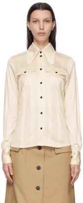 Victoria Beckham Off-White Silk Pintuck Shirt