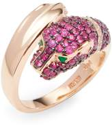 Effy Women's 14K Rose Gold Diamond, Emerald and Ruby Leopard Head Ring